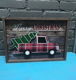 Decor Wood Merry Christmas Truck Tree
