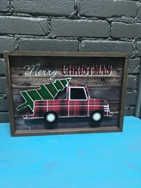 Decor Wood Merry Christmas Truck Tree