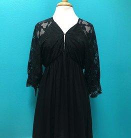 Dress Lace Detail V Neck Dress