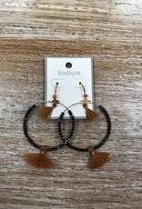 Jewelry Black Beads Mustard Tassle Earrings