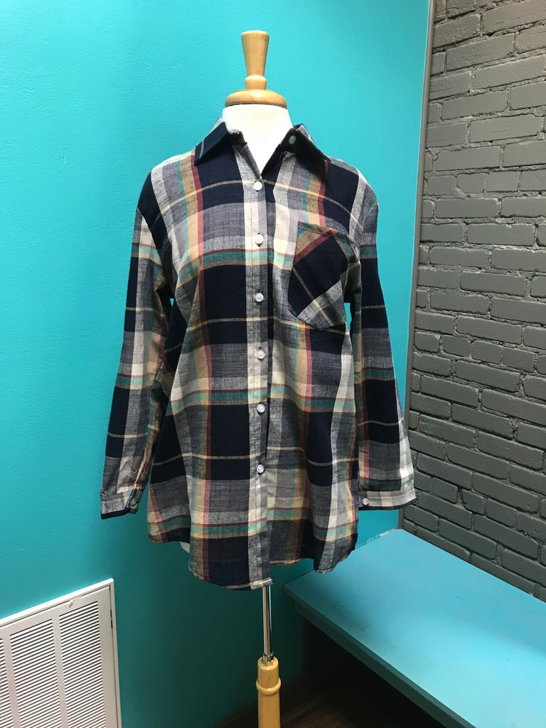 Shirt Multi- Colored plaid button up shirt