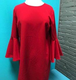 Dress Red Bell Sleeve Dress