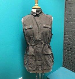 Vest Mocha Gray Vest w/ Aztec Back Detail