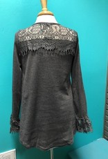 Long Sleeve Gray Bell Sleeve w/ Lace Top