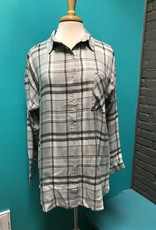 Top Grey Plaid LS Button Down