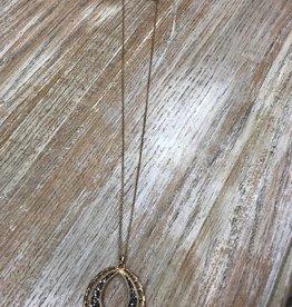 Jewelry Long Oval Rhinestone Necklace
