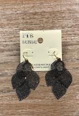 Jewelry Black Little Leaf Earrings