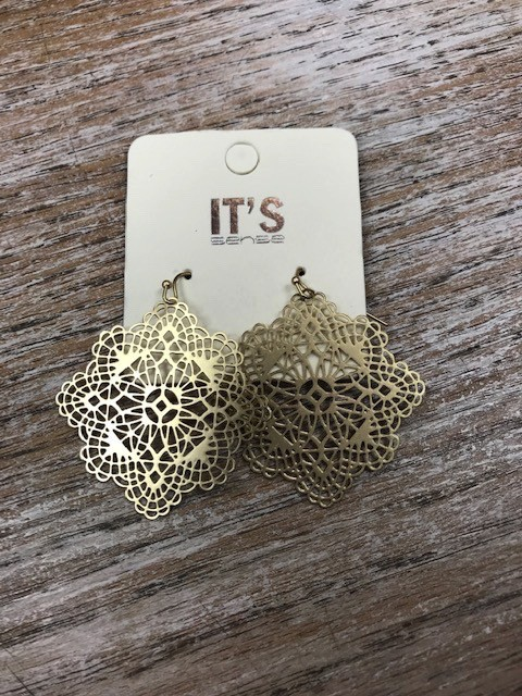 Jewelry Gold Floral Disc Earrings