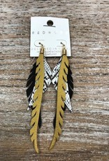 Jewelry Gold Leather Feather Earrings