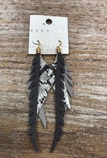 Jewelry Gray Leather Feather Earrings