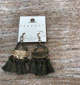 Jewelry Olive Tassle Gold Plate Earrings