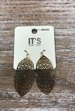 Jewelry Gold Oval Web Earrings