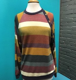 Long Sleeve Multi Color Stripe Button LS