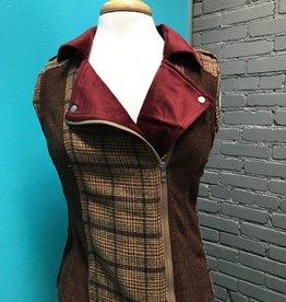 Vest Mix Media Collar Biker Zip up Vest