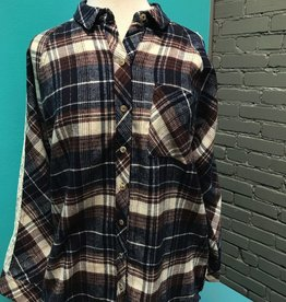 Top Plaid Button Up w/ Lace Sleeve