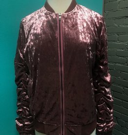 Jacket Velvet Bomber Jacket w/ Ribbed Sleeves