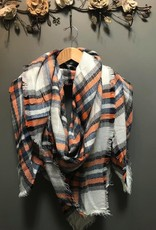 Scarf Ivory/Rust Plaid Blanket Scarf