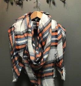 Scarf Ivory/Rust Plaid Blanket Scarf
