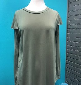 Long Sleeve Olive LS w/ Ruffle Shoulder