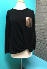 Long Sleeve Black Knotted Sequin Top