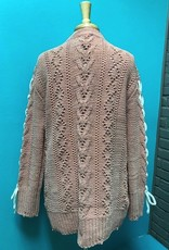 Sweater Dusty Pink Distressed Laced Sweater
