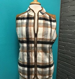 Vest Cream Plaid Zip Vest