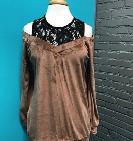 Long Sleeve Velvet LS Cold Shoulder w/ Lace