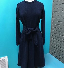 Dress Navy LS Dress w/ Tie Waist
