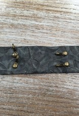 Jewelry Vintage Floral Blk Wide Leather Cuff