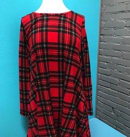 Dress LS Plaid Knit Swing Dress