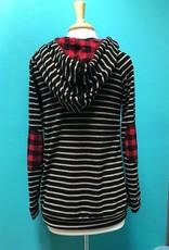 Long Sleeve Blk Striped Hoodie w/ Plaid