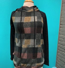 Top Charcoal LS Checkered Plaid Hoodie