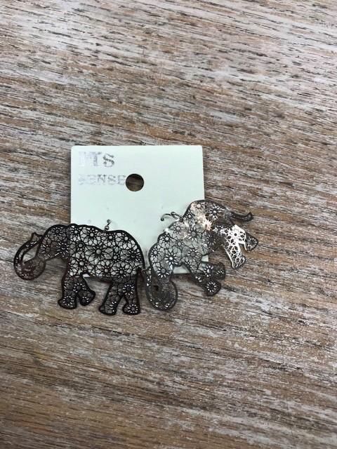 Jewelry Silver Elephant Earrings