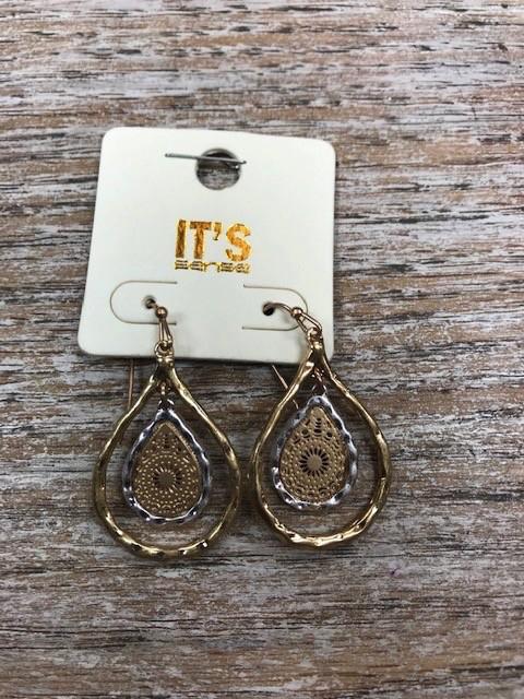 Jewelry Hammered Gold Silver Teardrop Earrings