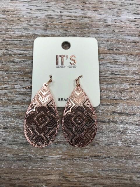 Jewelry Rose Gold Aztec Design Earrings