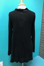 Long Sleeve Blk LS Tie Neck Top