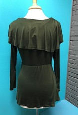 Long Sleeve Olive Ruffle Tie LS Top