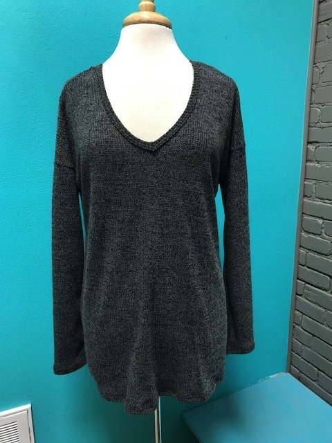 Sweater Charcoal Back Twist Sweater
