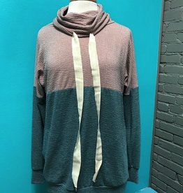 Long Sleeve Rose/Pine LS Cowl Neck Top
