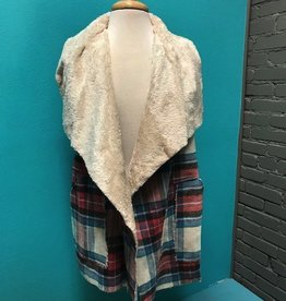 Vest Plaid Fleece Lined Vest