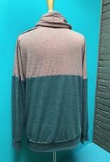 Long Sleeve Rose/Pine LS Cowl Neck Top