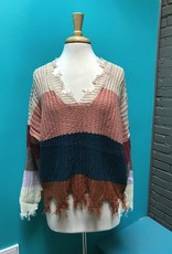Sweater Pink Color Block Sweater