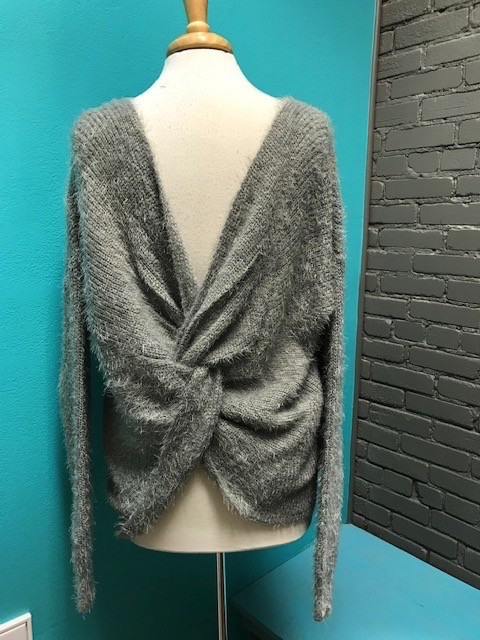 Sweater Grey Knot Back Sweater