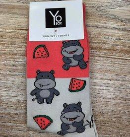 Socks Hippo & Watermelon