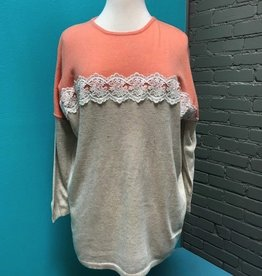 Top Coral/Nude Lace Detail Top