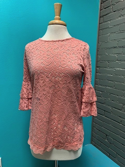 Top Pink Layered Ruffle Lace Top