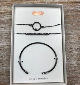 Jewelry Gunmetal Bracelet Set