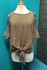 Top Mustard Stripe Paisley Back Top