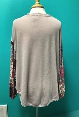 Top Lavender Button Top Print Sleeve