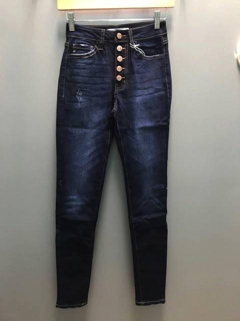 Jean Button High Rise Ankle Jeans